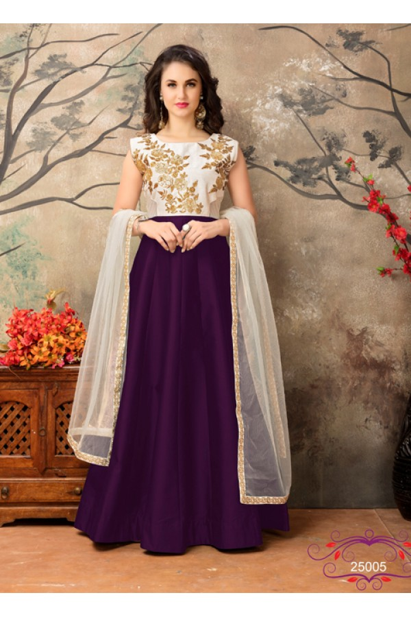 Traditional Off White & Violet Taffeta Silk Anarkali Suit - 25005