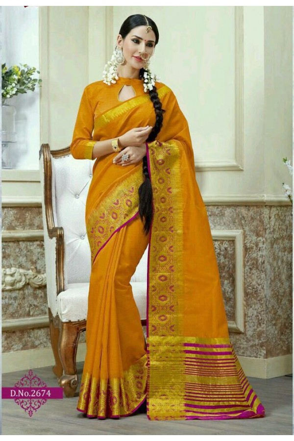 Ethnic Wear Yellow Jacquard Tussar Silk Saree  - 2674