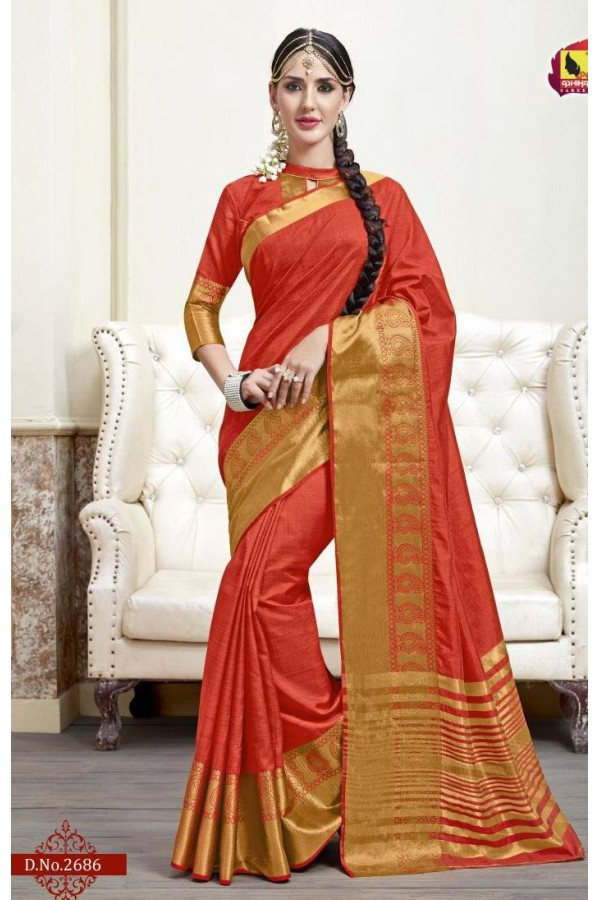 Ethnic Wear Red Jacquard Tussar Silk Saree  - 2686