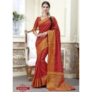 Party Wear Dark Red Jacquard Tussar Silk Saree  - 2683
