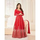Dia Mirza In Red Georgette Anarkali Suit  - 7008