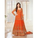Dia Mirza In Orange Georgette Anarkali Suit  - 7009
