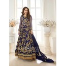 Dia Mirza In Blue Georgette Anarkali Suit  - 7011