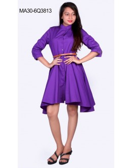 Fancy Readymade Lavender Skater Dress - 3813