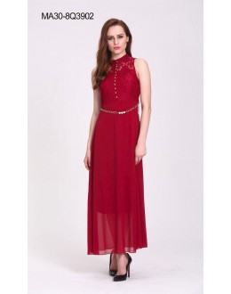 Party Wear Readymade Red Western Wear Dress - 3902
