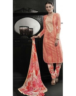 Party Wear Peach Satin Salwar Suit - 7601