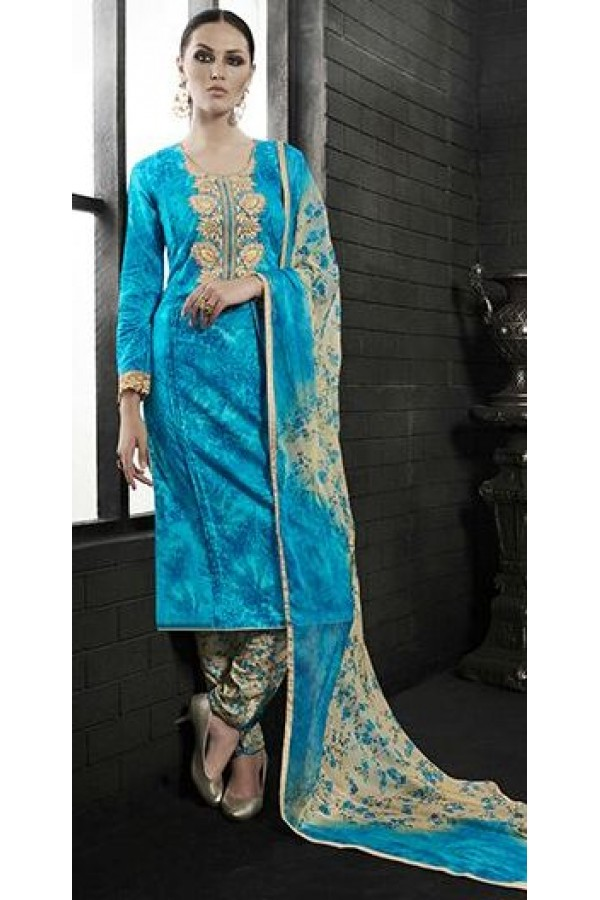 Party Wear Sky Blue Satin Cotton Salwar Suit - 7602
