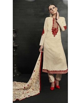 Party Wear Cream Satin Cotton Salwar Suit - 7610