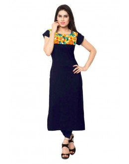 Office Wear Readymade Navy Blue Crepe Kurti - 159