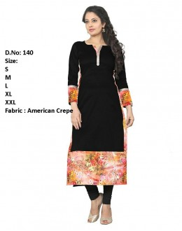 Office Wear Readymade Black Crepe Kurti - 140
