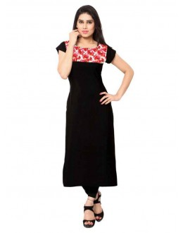 Ethnic Wear Readymade Black Crepe Kurti - 143