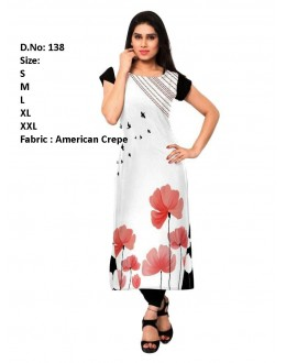 Office Wear Readymade White Crepe Kurti - 138