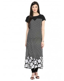 Ethnic Wear Readymade Black Crepe Kurti - 132