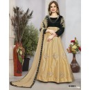 Ethnic Wear Black & Beige Tafeta Silk Anarkali Suit  - 21001