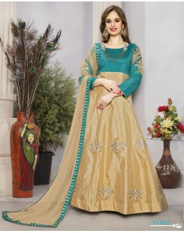Festival Wear Teal Green & Beige Anarkali Suit  - 21002