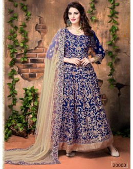 Banglori Silk Blue Embroidery Anarkali Suit  - 20003