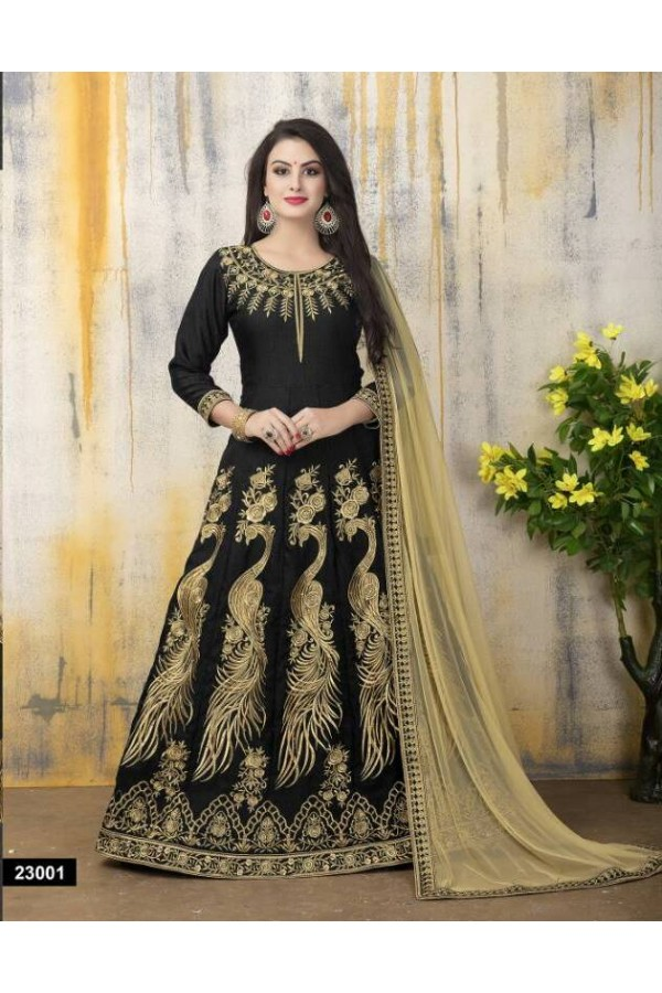Festival Wear Black Banglori Silk Anarkali Suit - 23001