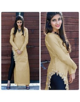 Bollywood Inspired- Designer Beige Fancy Kurti - Apple Kurti-01