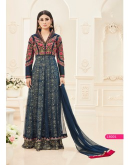 Mouni Roy In Teal Silk Anarkali Suit  - 18001
