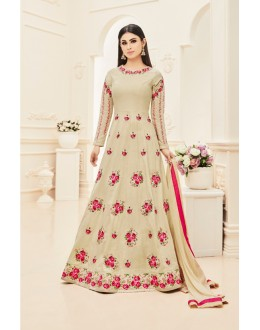 Mouni Roy In Beige Silk Anarkali Suit  - 18003