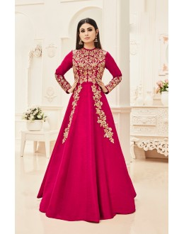 Mouni Roy In Pink Silk Anarkali Suit  - 18004