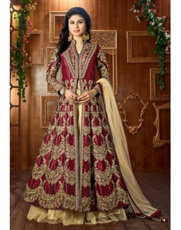 Mouni Roy In Maroon Tapeta Silk Lehenga Suit  - 12045