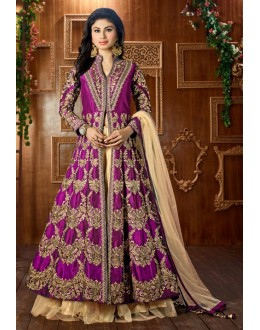 Mouni Roy In Pink Tapeta Silk Lehenga Suit  - 12046