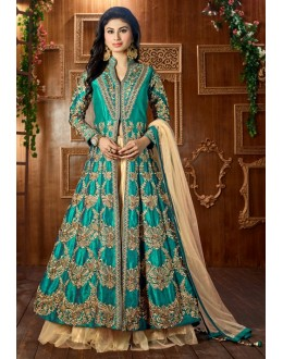 Mouni Roy In Blue Tapeta Silk Lehenga Suit  - 12047