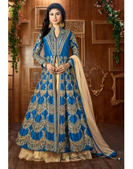 Mouni Roy In Blue Tapeta Silk Lehenga Suit  - 12048