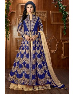 Mouni Roy In Navy Blue Tapeta Silk Lehenga Suit  - 12049