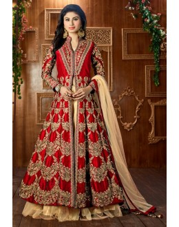 Mouni Roy In Red Tapeta Silk Lehenga Suit  - 12050