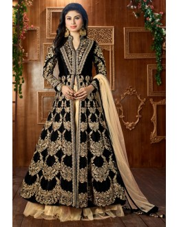 Mouni Roy In Black Tapeta Silk Lehenga Suit  - 12051