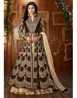 Mouni Roy In Brown Tapeta Silk Lehenga Suit  - 12052