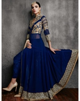 Party Wear Blue Georgette Anarkali Suit - 11003-B
