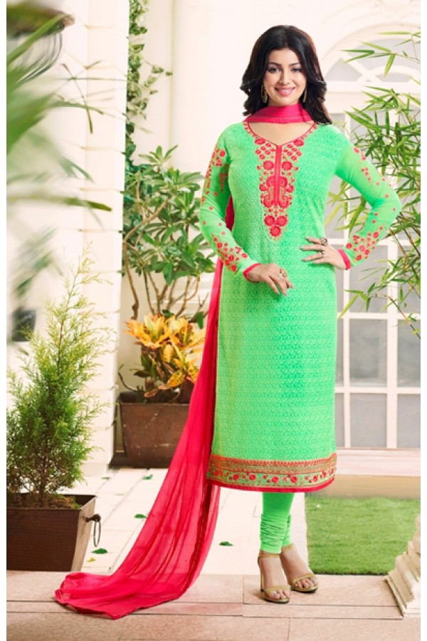 Ayesha Takia In Parrot Green Georgette Salwar Suit  - 205