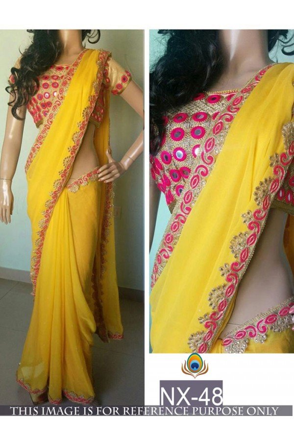 Bollywood Replica - Wedding Wear Yellow Georgette Saree - NX-48