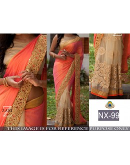 Bollywood Replica - Wedding Wear Orange & Beige Saree - NX-99