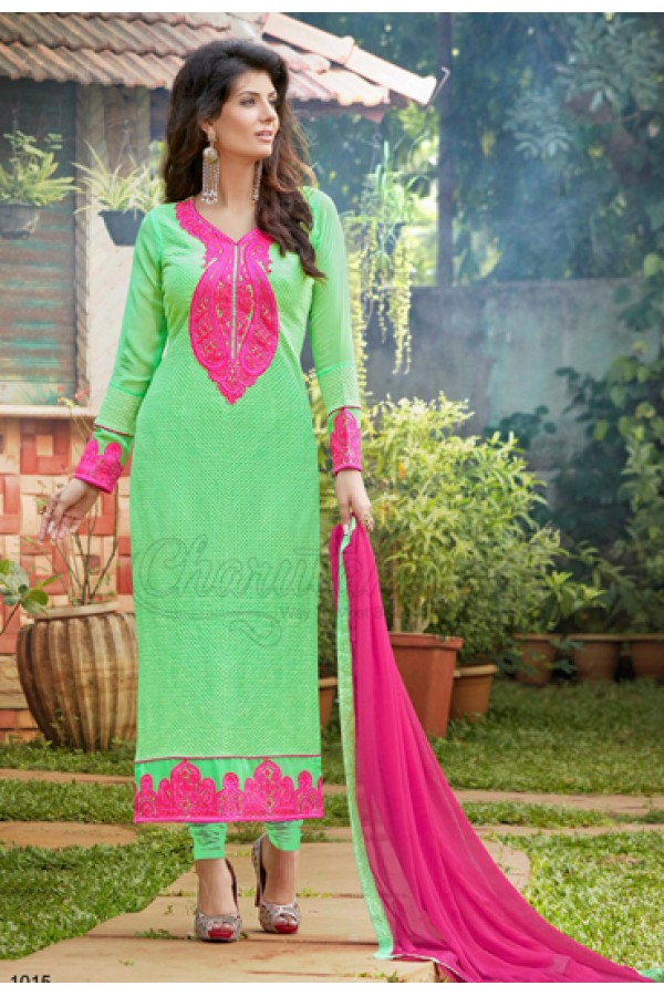 Designer Sea Green & Pink Georgette Churidar Suit - 1015