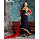 Traditional Blue & Red Georgette Anarkali Suit - 1003