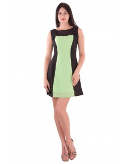Fancy Readymade Green & Black Georgette One Piece - 71