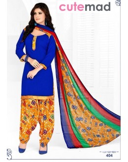 Ethnic Wear Blue Cotton Patiyala Suit  - 404