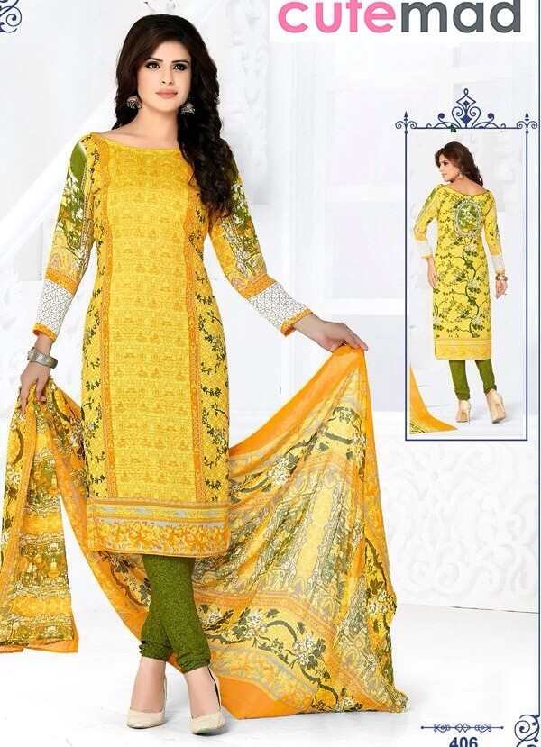 Casual Wear Yellow Cotton Salwar Suit  - 406
