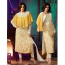 Ethnic Wear Yellow & White Georgette Salwar Suit- 7003-B