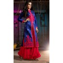 Ethnic Wear Blue & Pink Australian Silk Palazzo Suit- 7004-B