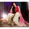 Party Wear Pink & Cream Silky Net Palazzo Suit- 7005-A