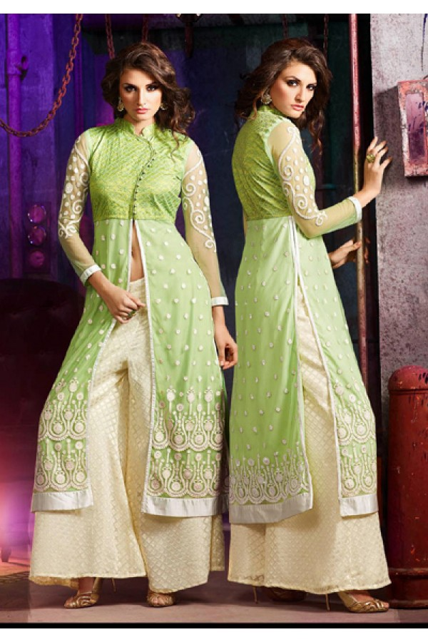 Ethnic Wear Green & Cream Silky Net Palazzo Suit- 7005-B