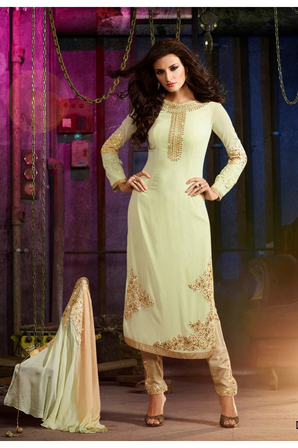 Party Wear Light Green Georgette Salwar Suit- 7007
