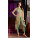Party Wear Green Silky Net Salwar Suit- 7008-A