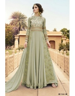 Party Wear Grey Georgette Anarkali Suit  - 7108 C