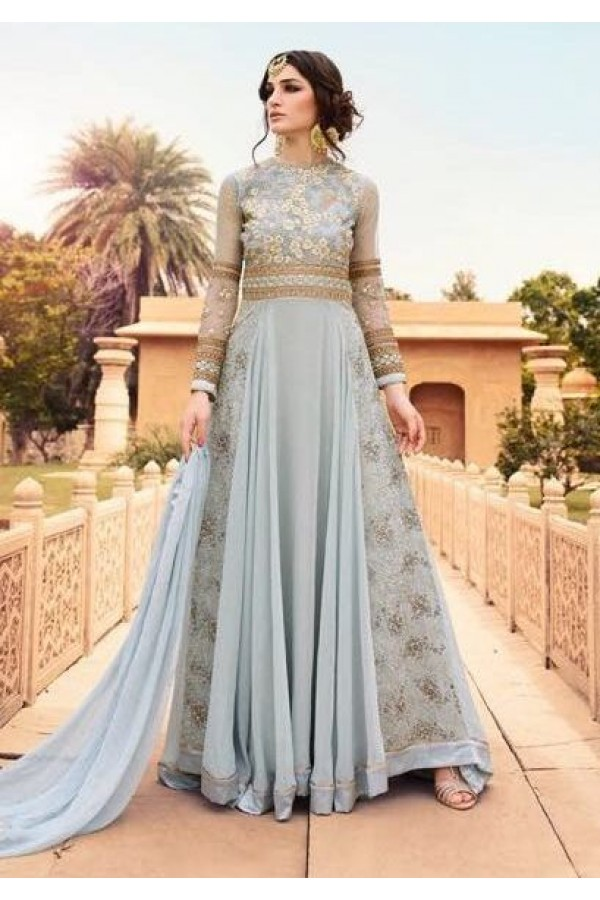 Designer Grey Georgette Embroidery Anarkali Suit  - 7108 E